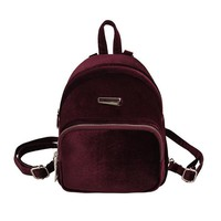Fashion Women Velvet Backpack Mini Backpack For Lady Teenage Girl Mochilas Female Student Travel Book School Bag