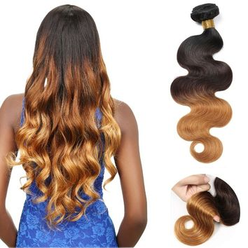 100g/Bundle Ombre Brazilian Real Hair Extensions Wavy Hair 3 Tone T1B/4/27(10-30inch)
