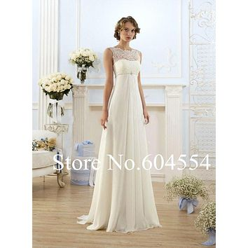 2017 Stock Vestido De Noiva White/Ivory Chiffon Beading Lace Beach Wedding Dress Sweep Train Bridal Gown