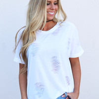 Best Distressed Tee {White}