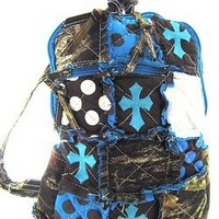 Cute! Patchwork Camo Cross Print Small Backpack Purse Blue Camouflage