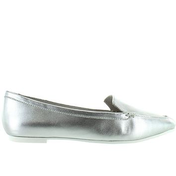 ac85823e60e9 Me Too Audra - Silver Leather Point Toe Flat Loafer
