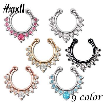 Top Quality Hot Sale Fake Septum Crystal Clicker Fake Nose Ring Piercing Faux Body Jewelry Hoop For Women Septum Clip Non