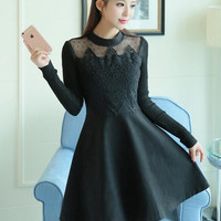 winter new Korean embroidery sweater stitching lace dress elegant female long sleeve casual dress fashion women dress