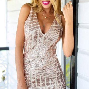 Sheath Deep V-Neck Short Pink Homecoming Dress