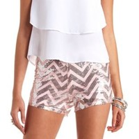Chevron Sequin Tap Shorts by Charlotte Russe - Silver