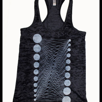 Women's Geometric Pattern Tank Top Connected Circles White Black