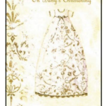 White and Gold Christening Card