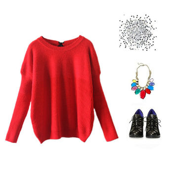 Winter Mosaic Knit Tops Casual Pullover Sweater [4918282948]