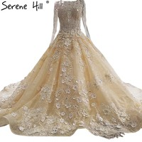 Long Sleeve Lace Flowers Princess Wedding Dresses Crystal Pearls Luxury Sexy Bridal Gown