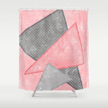 Pink and Grey Triangles Shower Curtain by Kat Mun