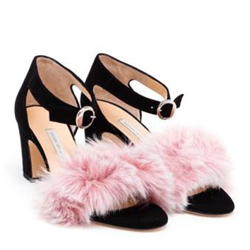 BIONDA CASTANA | Suede Sandals with Faux Fur | brownsfashion.com | The Finest Edit of Luxury Fashion | Clothes, Shoes, Bags and Accessories for Men & Women