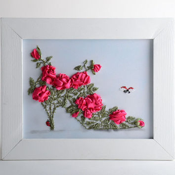 Unusual handmade satin ribbon embroidery for wall decor Flower Shoe