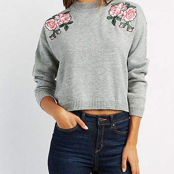 Floral Embroidered Cropped Sweater