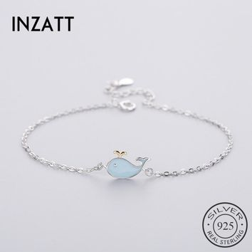 INZATT Punk 925 Sterling Silver Cute Blue Whale Bracelet Enamel For Women Geometric Lady Summer Metal Chain Jewelry Party Gift