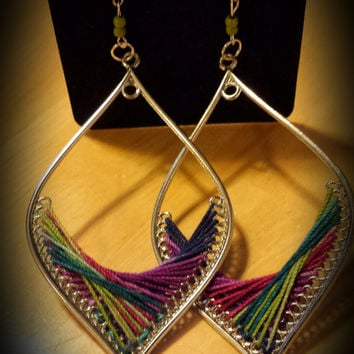 "Multi Colored Thread Earrings  ""Watercolor"""