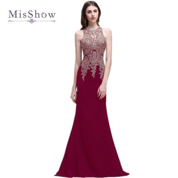 MisShow Robe de Soiree Longue Cheap Lace Mermaid Long Evening Dress 2017 Sexy Sheer Appliques Beaded Evening Party Dresses