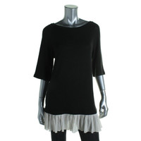 Impulse Womens Knit Chiffon Trim Tunic Top