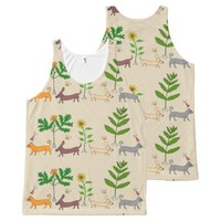 Whimsical Dogs Cats and Plants Unisex Top