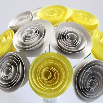 "Yellow and Gray Centerpiece Flowers, one dozen grey roses on stems, 1.5"" blooms, popular home decor color scheme, Gender neutral baby shower"