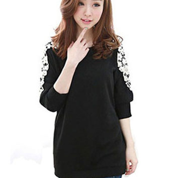 Lace Embroidered Hollow Stitching Beaded T-Shirt