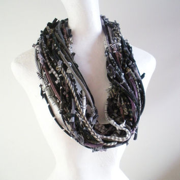 Earth Day Steampunk Infinity Art Scarf Black Gray Brown Upcycled Clothing Spring Fashion Urban Nomad Knotty Bits Scarf Tribal Gypsy