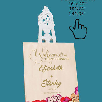 DIY Wedding Welcome Sign Template Printable, Editable PDF Template, Instant Download, Digital, Elegant Painted Floral #1CM79-1
