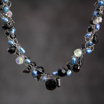 Royal blue Pearl black onyx crocheted wiring necklace Bridesmaid gifts Free US Shipping handmade Anni designs