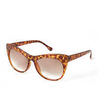FOREVER 21 Spotted Cat-Eye Sunglasses Brown/Light Brown One