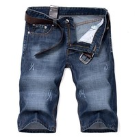 Zipper Fly Blue Denim Shorts