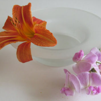 Art Deco Frosted Glass Bowl 30s Glass Serving Bowl Satin Glass Candy Dish