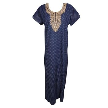 Mogul Womens Blue Maxi Caftan Nightwear Printed Short Sleeves Embroidered Neck Cotton Evening Dress - Walmart.com