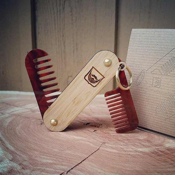 Handmade Folding Wood and Tortoise Shell Acrylic Beard Comb Keychain - Dual Tool