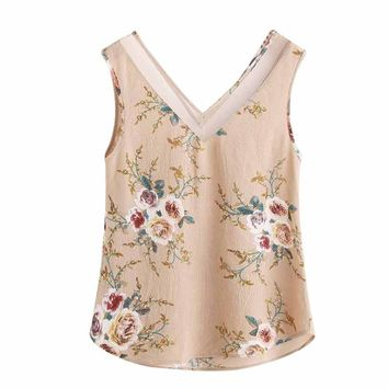Tank Top Women 2017 Women Floral Casual Sleeveless Crop Top Vest Tank Shirt  Blouse Camisole Feminina V-Neck Cute Ruffle Jane 30