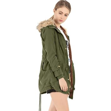 Women's Winter Jacket Liner Casual Coat Overcoat Military Hooded Thickening Warm Cotton Coat Medium-Long Jacket Fur Coats