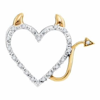 10kt White Gold Women's Round Diamond Angel Halo Winged Heart Pendant 1-20 Cttw - FREE Shipping (US/CAN)