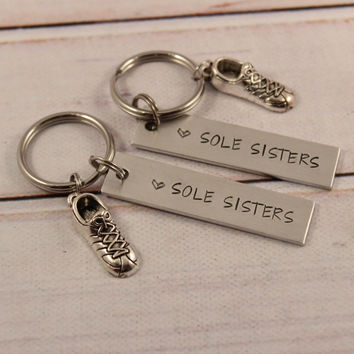 一 Sole Sisters 一 Running Buddy Keychain Set of TWO - #SIL *OS*
