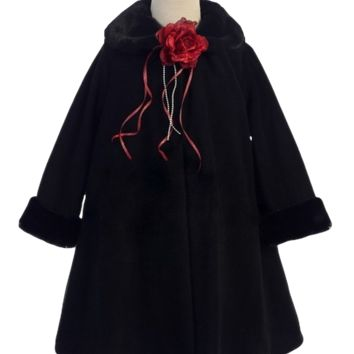 Black Fleece & Fur Trim Tea Length Dress Coat (Girls Sz 2T to 12)