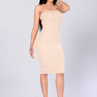 Squeeze Me Tube Dress - Taupe