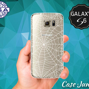 White Spider Web Pattern Halloween Inspired Spooky Case for Clear Rubber Samsung Galaxy S6 Samsung Galaxy S6 Edge Galaxy S7 and S7 Edge