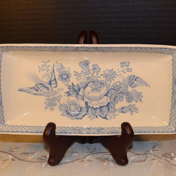 Mason's Stratford Cookie Tray Vintage Stratford Blue Pheasant England Patent Ironstone China Powder Blue Shabby Chic Cottage Chic Tray