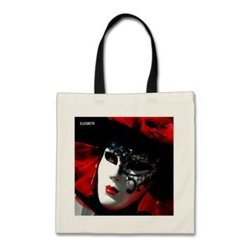 Venice Carnival Colorful Traditional Red Mask Tote Bag