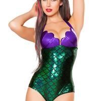 J-Valentine Purple Green Scale Front Lined Plur Mermaid Swimsuit