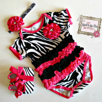 Zebra and hot pink tutu Onesuits  Baby  by TheBabyBellaBoutique