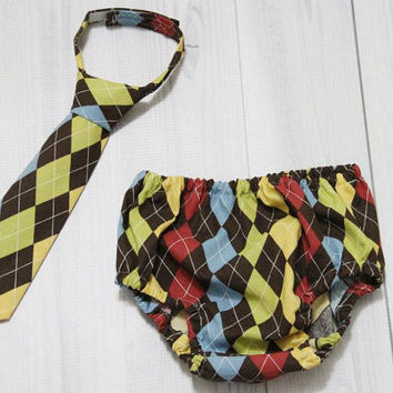 Autumn Inspired Argyle Diaper Cover and Tie Set. Birthday, Cake Smash, Baby.