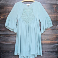 dreamy lace up peasant dress - sage