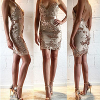 Gold Sequined V-Neck Floral Backless Bodycon Dress