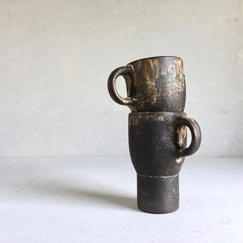TRAVEL CAR MUG, ceramic, pottery, handmade, coffee mug, tea mug, pottery mug, handmademug, togo mug, to go mug, rustic, dark brown, carmug