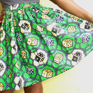 African print skirt -  Lovely wax print skirt with elastic band