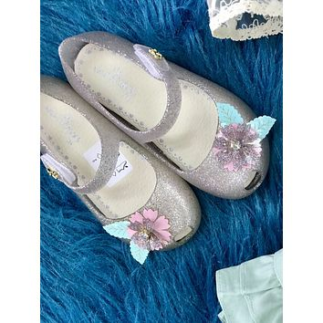 2019 Spring & Summer Fun Clear Flower Glitter Jelly Girls Shoes